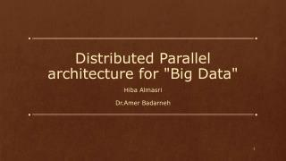 "Distributed Parallel architecture for ""Big Data"""