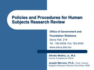 Policies and Procedures for Human Subjects Research Review