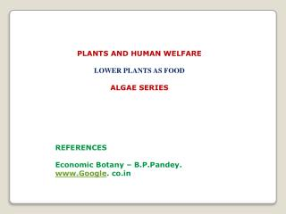 PLANTS  AND HUMAN  WELFARE LOWER PLANTS AS FOOD ALGAE SERIES REFERENCES