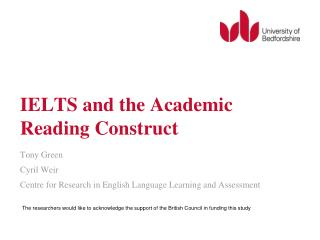 IELTS and the Academic Reading Construct