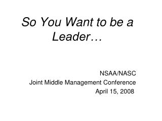 So You Want to be a Leader…