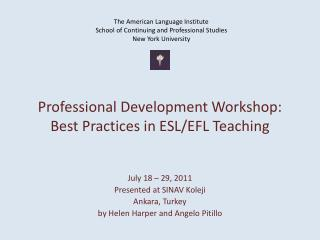 Professional Development Workshop: Best Practices in ESL/EFL Teaching