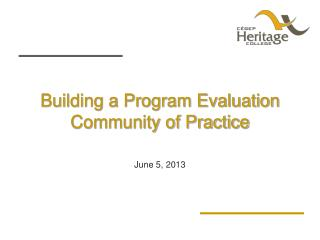 Building a Program Evaluation Community of Practice