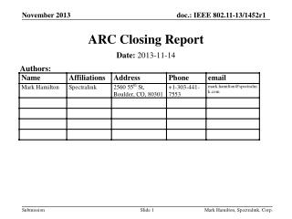 ARC Closing Report