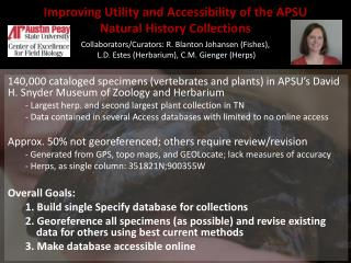 Improving Utility  and  Accessibility  of the APSU  Natural  History  Collections