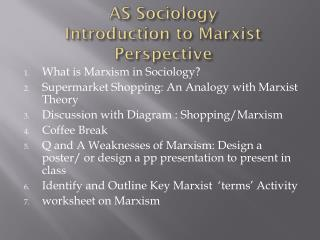 AS Sociology Introduction to Marxist Perspective