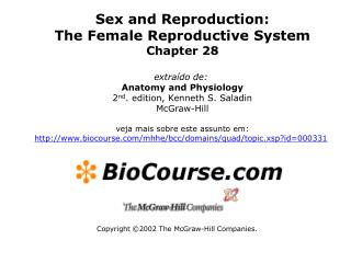 Sex and Reproduction: The Female Reproductive System Chapter 28  extra do de:  Anatomy and Physiology 2nd. edition, Kenn
