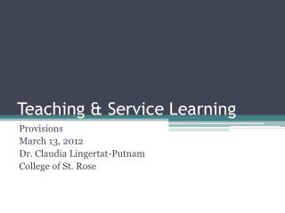 Teaching & Service Learning