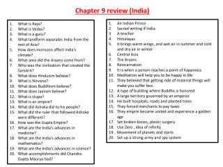 Chapter 9 review (India)