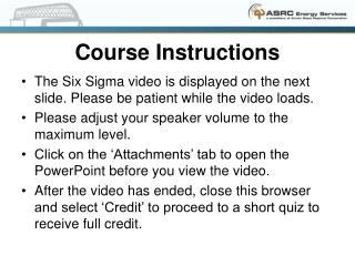 Course Instructions