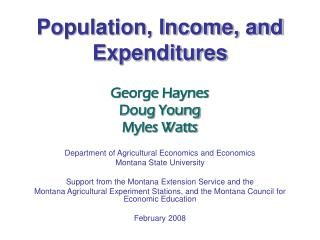 Population, Income, and Expenditures