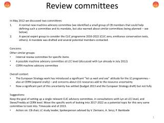 Review committees