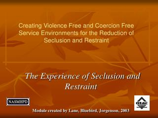 The Experience of Seclusion and Restraint Module created by Lane, Bluebird, Jorgenson, 2003