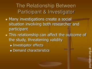 The Relationship Between Participant  Investigator
