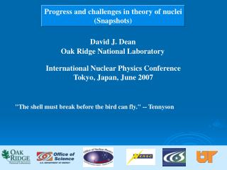 Progress and challenges in theory of nuclei Snapshots