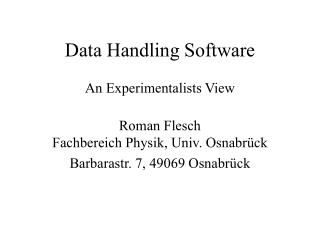 Data Handling Software