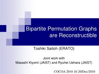 Bipartite Permutation Graphs are  Reconstructible