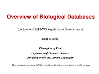 Overview of Biological Databases