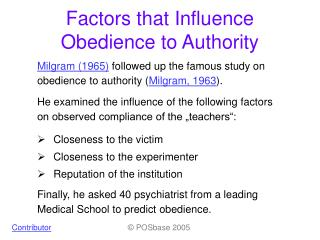 Factors that Influence Obedience to Authority