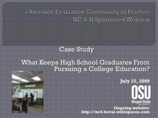 eXtension Evaluation Community of Practice NC 4-H Sponsored Webinar