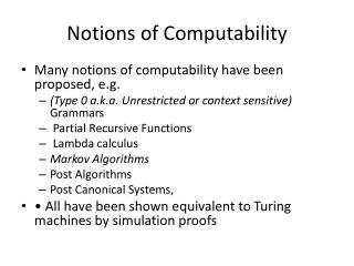 Notions  of Computability