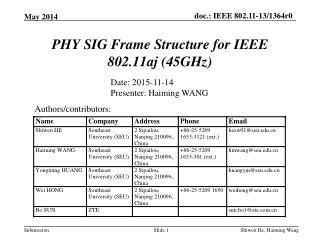 PHY SIG Frame Structure for IEEE 802.11aj (45GHz )