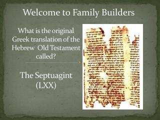 What is the original Greek translation of the Hebrew  Old Testament called?