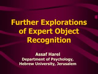 Further Explorations of Expert Object Recognition
