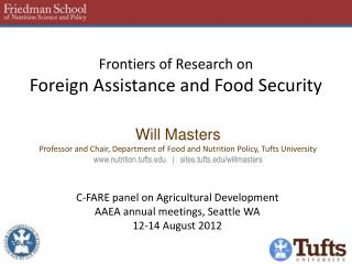 Frontiers of Research on Foreign Assistance and Food Security