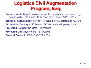 Logistics Civil Augmentation Program, Iraq