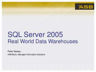 SQL Server 2005   Real World Data Warehouses