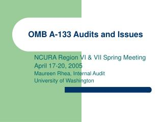 OMB A-133 Audits and Issues