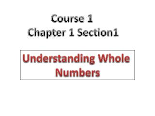 Course 1  Chapter 1 Section1