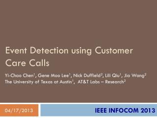 Event Detection using Customer Care Calls