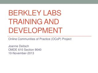Berkley labs Training and Development
