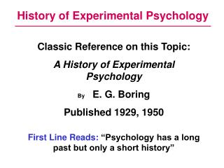 History of Experimental Psychology