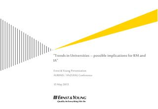 """Trends in Universities –  possible implications for RM and IA"""