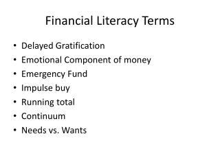 Financial Literacy Terms
