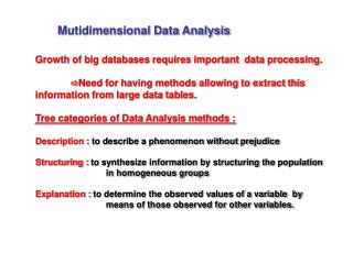Mutidimensional Data Analysis