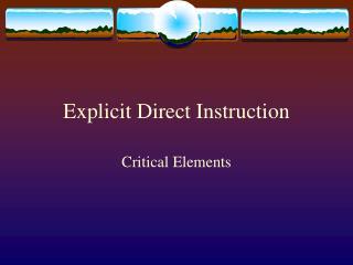 Explicit Direct Instruction