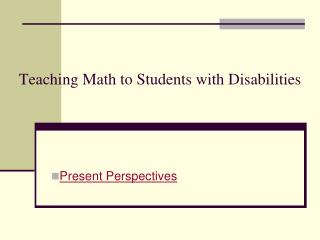 Teaching Math to Students with Disabilities