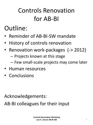 Controls Renovation for AB-BI