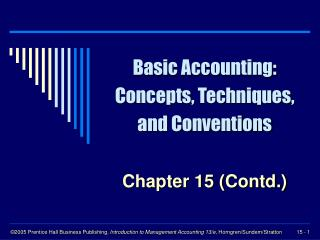Basic Accounting: Concepts, Techniques, and Conventions