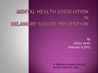 Mental Health Association  in Delaware Suicide Prevention