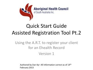 Quick Start Guide Assisted Registration Tool Pt .2