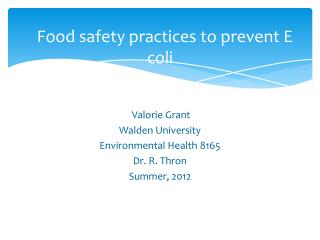 Food safety practices to prevent E coli