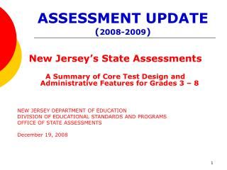 ASSESSMENT UPDATE ( 2008-2009 )