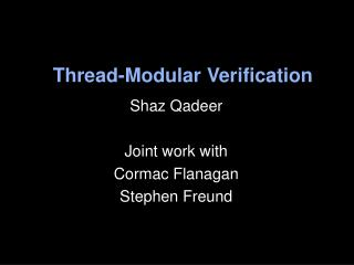 Thread-Modular Verification