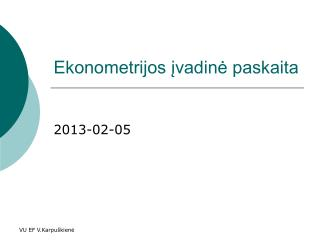 Ekonometrijos įvadinė paskaita