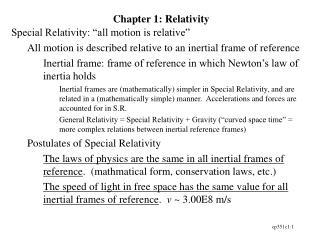 Chapter 1: Relativity